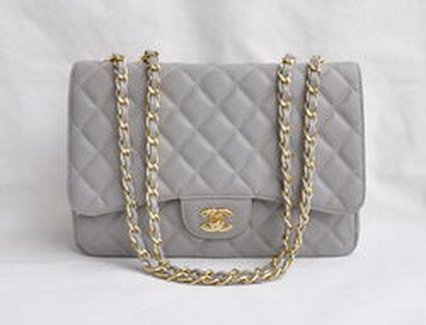 7A Replica Chanel Jumbo A28600 Gray Caviar with Golden Hardware Flap Bags